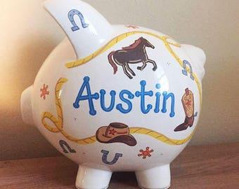 Personalized Cowboy Theme Piggy Bank