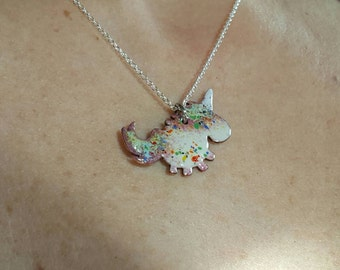 Beautiful Torch Fired Enamel On Copper Unicorn Pendant. Perfect Gift For Princesses Of Any Age.