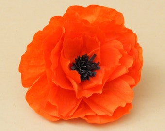 Orange Mexican Paper Flower Hair Piece | Paper Flower Hair Pin