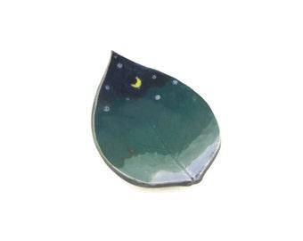 Dogwood Leaf dish - pottery - night sky leaf - starry night - ring dish - spoon rest - fall leaf - decor - space decor - stargazer dish