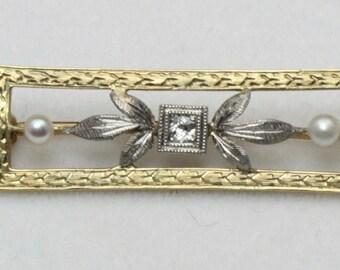 Vintage Art Nouveau 14k Antique Yellow & White Gold Diamond Pearl Brooch Pin