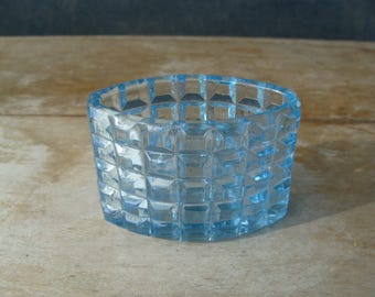 Antique Early American Pressed Art Glass Toothpick Holder Sky Blue Rochester Waffle Pattern Tooth Pick Vase