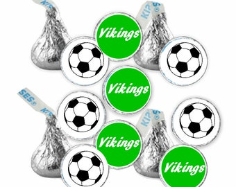Personalized Soccer round Hershey kiss Rolo   candy stickers (108) (pick your color)