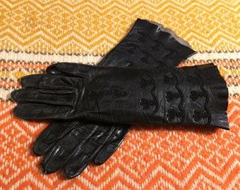 Black Leather Gloves Vintage Women's XS or Small size 6 1/2