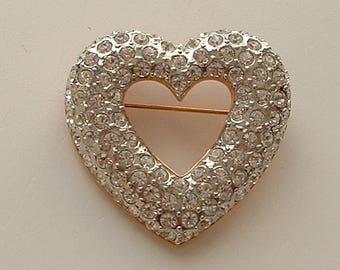 Sparkly rhinestone heart brooch
