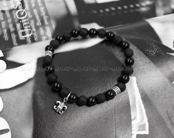Dangle Fleur de lis 925 sterling Silver Bracelet, Black onyx beaded Bracelets