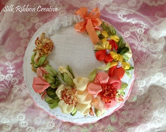 "Pin cushion ""Wild Roses & Pansies"" silk ribbon embroidery"