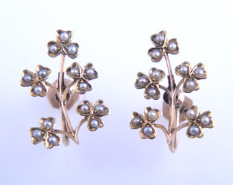 15ct Yellow Gold 1940's Multi Clover Screw On Earrings With Seed Pearls (632d)