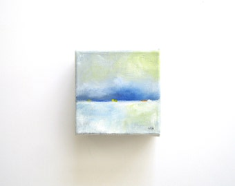 The Little Things - Abstract Landscape - Original Painting - Oil - Landscape Painting - Miniature Art - 3x3 - Winter Snow - Coastal Seaside