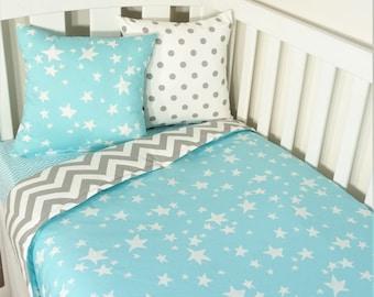 Aqua and grey star, chevron nursery items