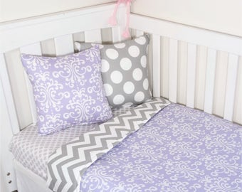 Purple damask and grey chevron nursery set items