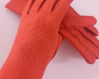Vintage 1960's felt art deco red orange gloves handmade