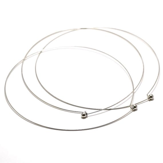 silver color necklace chaplet wire circlet necklace ball end