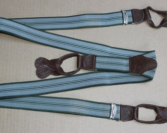 Vintage Suspenders Button Trouser Braces with Drop Ends NOS Green