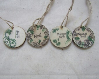 Yule tree ornaments, greetings, Christmas tree ornaments