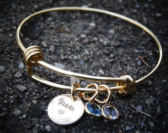 Personalized Mom Bangle bracelet Gift for Grandma or Mom Hand Stamped Personalized Bangle Grandchildren Charm Bracelet