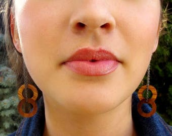 Walnut and Oak Circle Earrings, Hoop Earrings, Wood Hoop Earrings, Wood Dangle Earrings