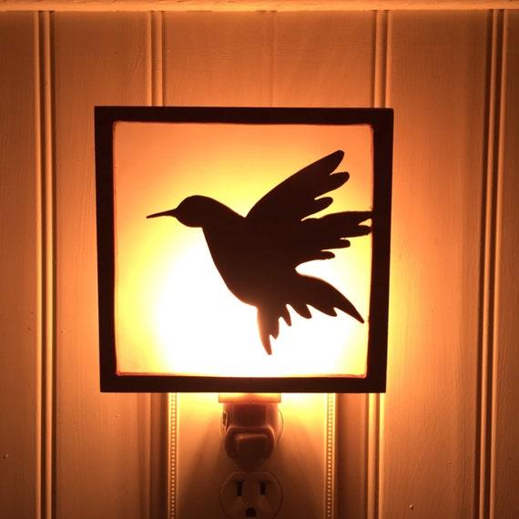 Wooden hummingbird nightlight bird night light handmade - Birdhouse nightlight ...
