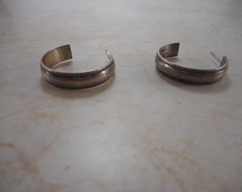 Vintage Sterling Silver Round Hoop Earrings