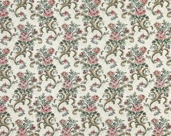 Burgundy Green And Ivory Floral Tapestry Upholstery Fabric By The Yard | Pattern # H860