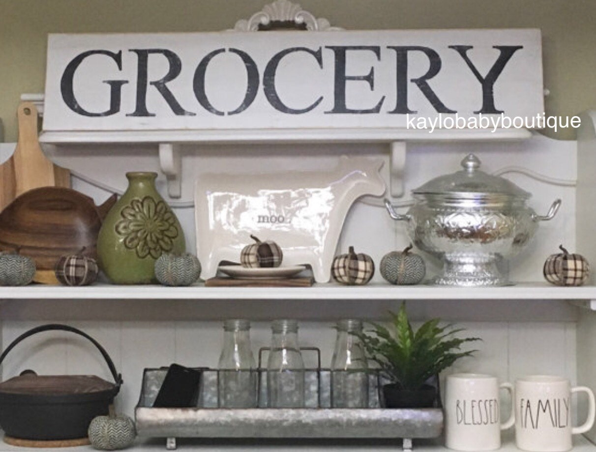 GROCERY Farmhouse Wood Sign Fixer Upper Joanna Gaines Inspired Sign