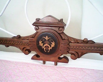"""1920s INLAID WOOD PEDIMENT  44"""" Long Architectural Salvage"""
