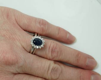 Wedding set with Sapphire-Blue Sapphire-1ct Sapphire-Engagement Ring-wedding band set-wedding ring set-promise ring-multistone ring-wedding