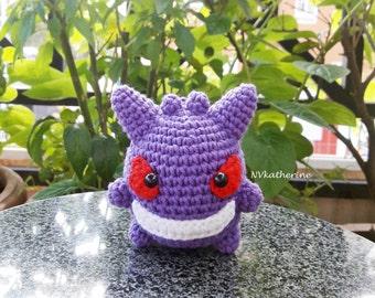 FREE SHIPPING Chibi Gengar Made-to-order Crochet Amigurumi, Pokemon plush toy