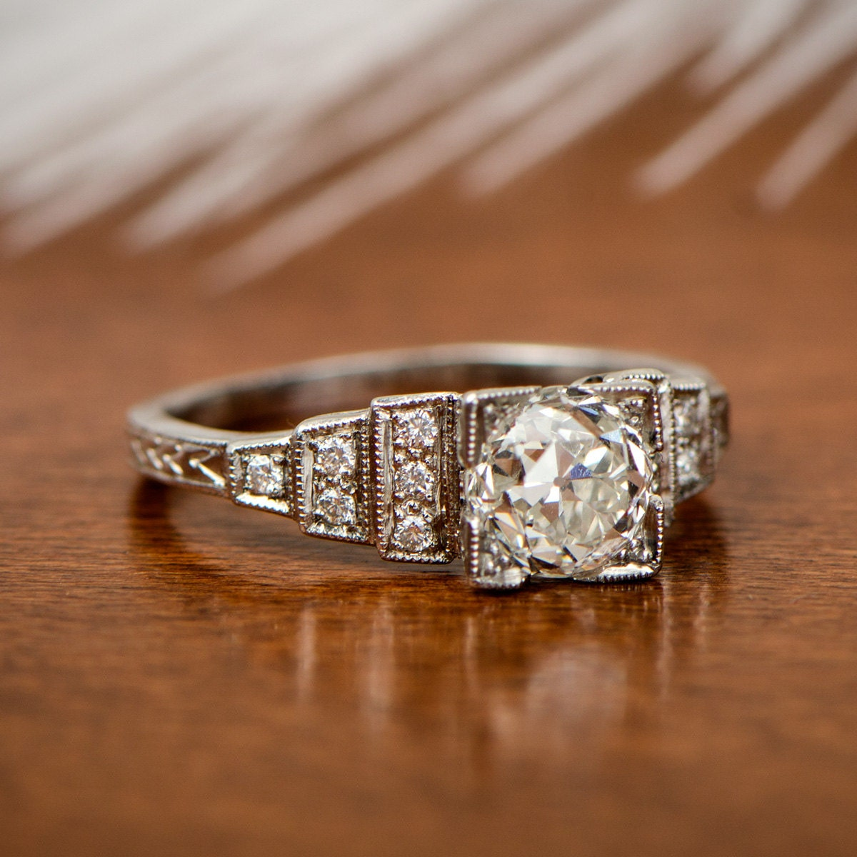 Beautiful Diamond Bands: Platinum Vintage Diamond Engagement Ring By