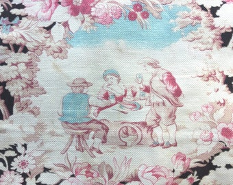 Antique French textile with toile design, toile, black toile, peasants, antique fabric, vintage floral, french fabric, pillow supply