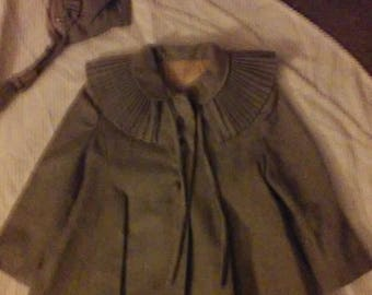 Vtg Banbury Original Girls  Dress Coat Matching Hat Bonnet Toddler Gray Capelet Collar 1950's Wool Lined