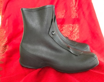 Rubber Granny Galoshes Overshoes Rain Boots/Black/New Old Stock/1940s 50s/Made in U.S.A./Small Woman/SALE