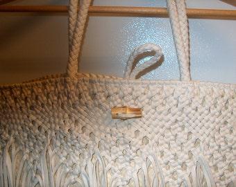 Hand Bag or Beach Bag, Fringe, off White, WAS 25.00 - 50% = 12.50