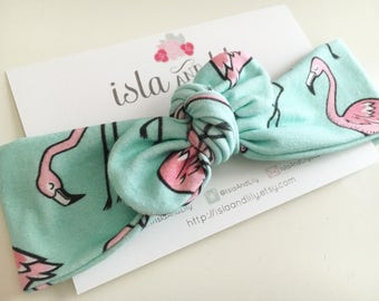 Flutey Flamingo Knot Turban - Turquoise & Pink - Flamingo Birds - Organic Cotton Headwrap - Fabric Headband