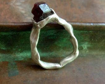 Cranberry on Ice. A handcrafted, hand cast, silver ring.