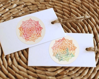 Printable Mandala Sticker | Rainbow Watercolor | Instant Download PDF | Digital Sticker | Printable Gift & Favor Stickers | Bohemian Sticker