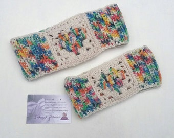 Mum and daughter gift set **Made to order** granny square headband, headwrap earwarmer, toddler headband, family gift,