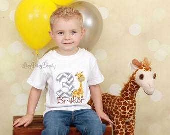 Boys Giraffe Birthday Shirt Embroidered Personalized Custom ANY AGE First Second Third