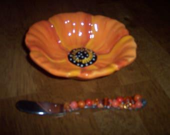 Orange Flower Bowl with Spreader
