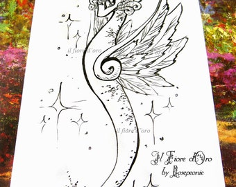 Dragon illustration - Ice Dragon in flight. Original Haiku ink drawing on high quality paper, Italy art OOAK wiinter holidays gift idea