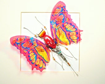 Beautiful Recycled Pink Computer Butterfly - Framed Art - Birthday Gift - Circuit Board Art - Geek gift - Computer Chip - PCB - Eco - Fairy.