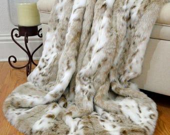 "Leopard Faux Fur Throw, Snow Leopard Throw, Fur Bedding, Lap Blanket,  60"" x 72"""