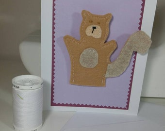 Ready to Ship : Felt Squirrel Finger Puppet Greeting Card