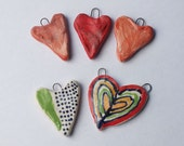 Red and Multicolored  Porcelain Hearts - hand made ceramics pendants