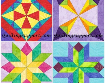 15 Inch EQ Star Block Set of 4 Paper Piece Template Quilting Block Patterns Set 2 PDF
