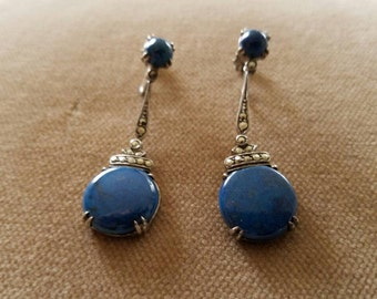 Vintage Sterling Lapis Marcasite Earrings, Wachenheimer
