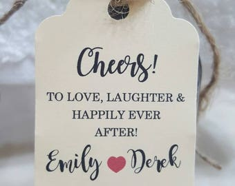 """Personalized Favor Tags 2.5""""L x1.8""""w  Wedding tags, Thank You tags, Favor tags, Gift tags, Bridal Shower Favor Tags, cheers tag, wine tag"""