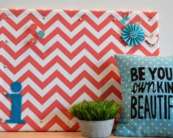 Personalized Cork Bulletin Board, Coral and White Chevron Fabric Covered Cork Board with Push Pins, Pin Board and Wall Decor