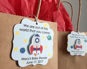 Outer space party favor tags, Outer space birthday party favor tags, Outer space baby shower favor tags, Rocket ship, thank you tag
