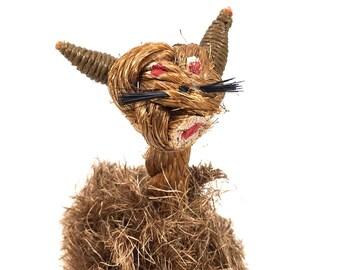 Vintage Rope Cat Sculpture with Denmark Label, Danish Modern Toy #DBL#
